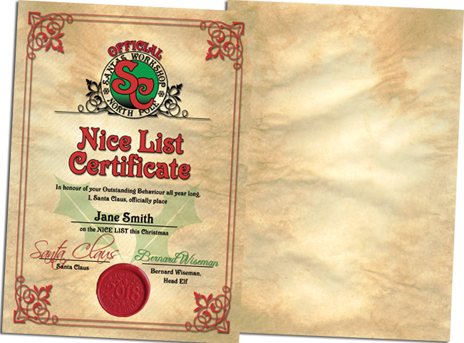 Official, Personalised Nice List Certificate